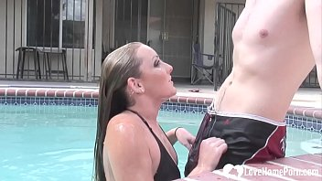 Sucking cock and riding by the pool