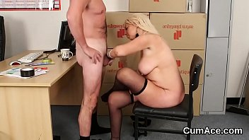 Feisty looker gets cumshot on her face gulping all the jism • [footfetishtube] thumbnail