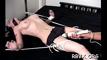Irresistable breasty babe gets aroused by being restrained