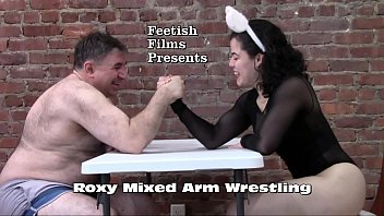 Strong Girl Roxy Arm Wrestles Male