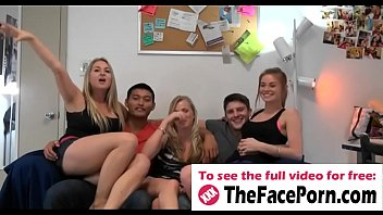 Naughty girls cock fucking in groupsex during dorm party - www.thefaceporn.com