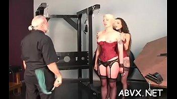 Severe bondage with busty hotties