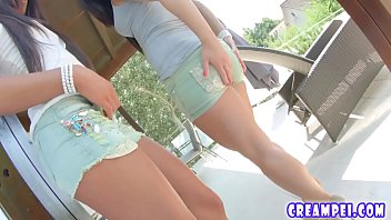 Allinternal Maria and Athina receives a messy creampie