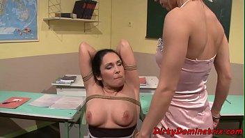 MILF teacher dominates a young les student