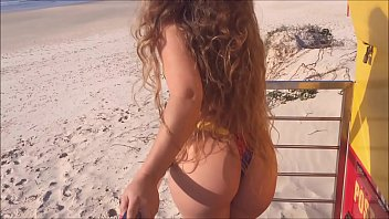 young wife gets naked on public beach to tease surfers