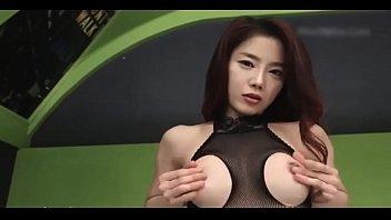 Hot Korean in Fishnets Playing Around