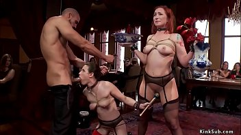 Bound anal slaves fuck at party