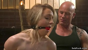 Rope tied blonde sub rough banged Preview