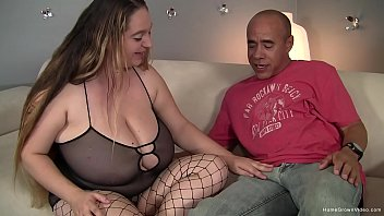 brunette bbw with huge tits sucks and fucks a fat cock