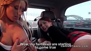 Russian car blowjobs - Two schoolgirls fucking in car