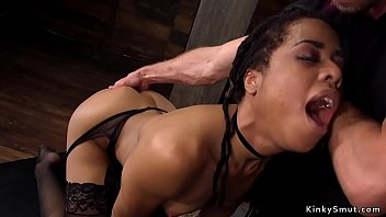 Ebony slave trained for self anal fisting