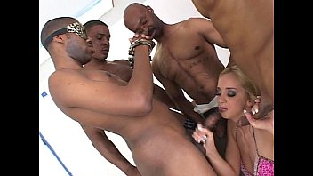 Black white gang bangs - White chick gets black cock gang bang