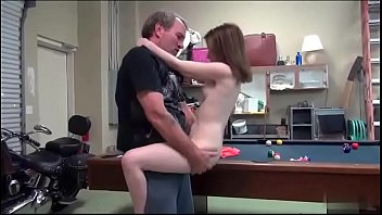 Daddy fucked me standing then bent me into the pool table