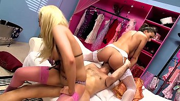 Sexy lingerie stores Big natural tits threesome in a lingerie shop. blonde and brunette team up for mff 3-way in sexy dessous