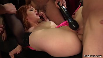 Redhead in stockings gets dp banged
