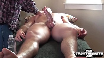 Horny naked jock gets a naughty massage