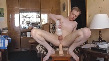 Fuck myself gay ass with huge dildo, riding and cumming