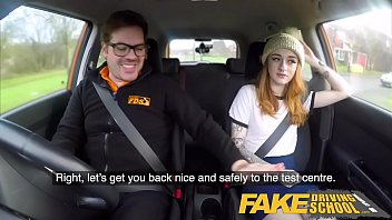 Redheads pale and sexy Fake driving school slim hot redhead minx fucks better then she drives