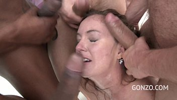 Chubby bitch Maddy O'Reilley assfucked & manhandled by 4 men