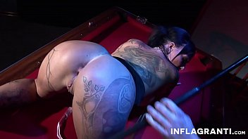 Inked Cory on the pool table