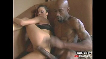 Oiled up hottie fucks a big black cock