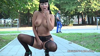 Nude bendability - Public flashing and playing in stockings nude-public