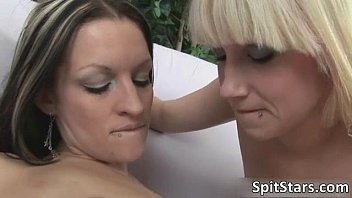 Sexy babes get aroused and spit