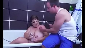 Granny fucks after bathing