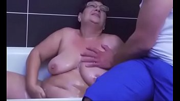 Granny fucks after bathing