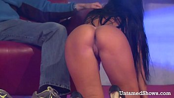 Show n tel strip club Horny brunette stripper masturbating on the stage