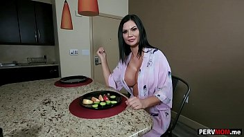 My huge boobs stepmom sucked me off in the kitchen