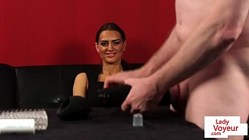 British femdom instructs sub to jerkoff w toy
