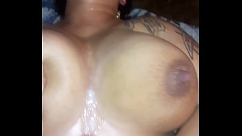 Cumshot all over wifes huge tits