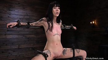 Tattooed slave is clamped and vibrated