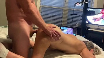 Horny Wife Gets Fucked Doggystyle Husbands Jerks His Big Cock Cumshot On Ass