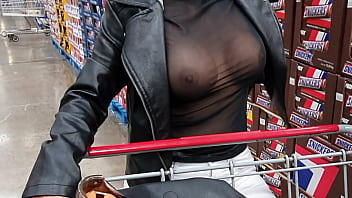 Mexican milf teacher showing boobs at Costco Store Mexico, mexico exhibicionist sheer blouse flashing tits in public,