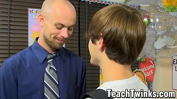 Gay student sucks teacher - Stud drills one of his young students after oral foreplay