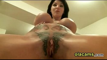 Sexy brunette babe squirt dildoing pussy