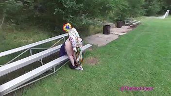 Clown fucks girl in public from drone view