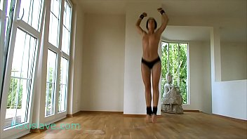 Sporty, flexible fitness and BDSM model Alex Zothberg nude workout, splits and punishment