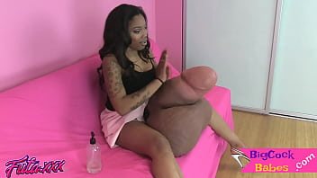 Ebony Babe Mauls Her Monster Cock And Testes