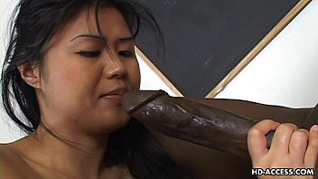 Huge asian nipples - Super hot asian lady gets a big black cock in her cunt
