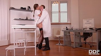 Nurse Tina Kay dominates defiant schoolgirl Luna Rival with Doc at clinic