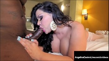 Thick massive cock - Thick latina angelina castro teases bangs big black cock