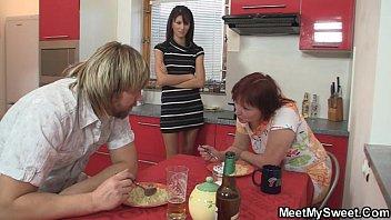 Mom seduces her son'_s GF into threesome