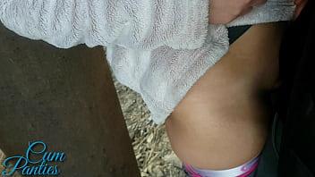 Real public cum panties near trains