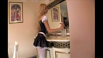Sexy women in chritmas outfits Maid fucking in her uniform and opaque stockings