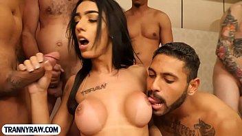 Couple with giant boobs latina tranny - Sexy latina tranny fucked by 11 guys in a big gangbang