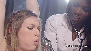 Ebony nurse anal fucks babe in bondage