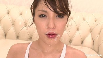 Japanese slut covered in cum